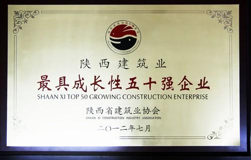 陕西省建筑业最具成长性五十强企业